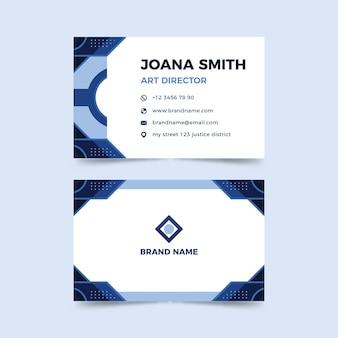 Modelo de cartão de empresa com formas abstratas azuis