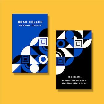 Modelo de cartão de empresa com formas geométricas azuis clássicas