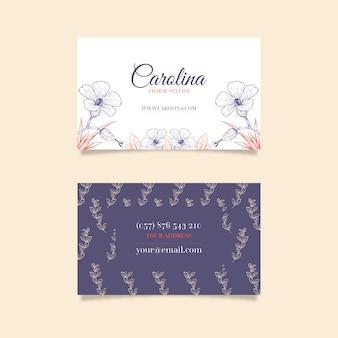 Modelo de cartão de empresa floral desenhada mão realista