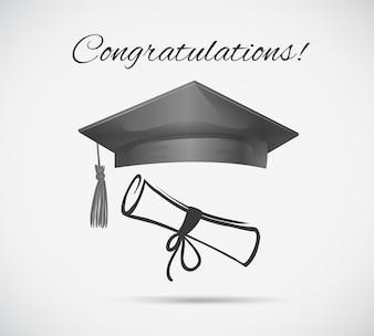 Modelo de cartão de felicitações com boné de graduação