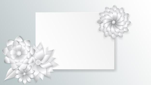 Modelo de cartão de felicitações com lindas flores de papel volumoso e sombras suaves