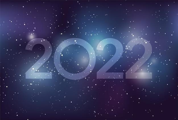 Modelo de cartão de felicitações de ano novo de 2022 com estrelas da galáxia via láctea e nebulosa