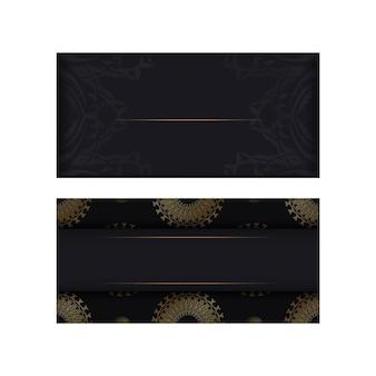 Modelo de cartão de felicitações de cor preta com ornamento de mandala de ouro