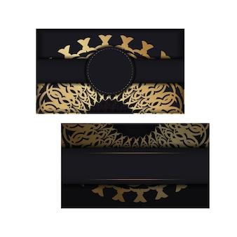 Modelo de cartão de felicitações de cor preta com padrão de mandala de ouro