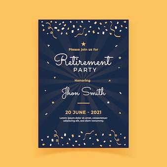 Modelo de cartão de felicitações para aposentadoria plana