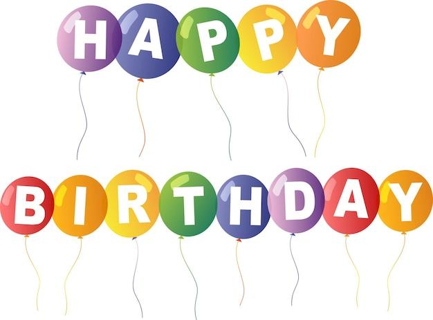 Modelo de cartão de feliz aniversário com balões coloridos no fundo