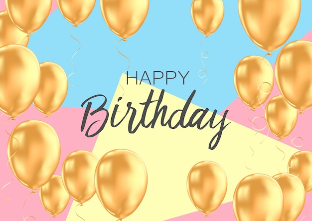 Modelo de cartão de feliz aniversário com balões dourados