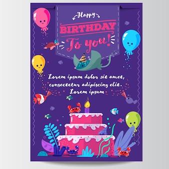 Modelo de cartão de feliz aniversário convite