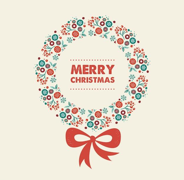 Modelo de cartão de feliz natal com coroa decorativa.