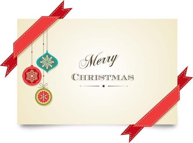 Modelo de cartão de feliz natal com fitas vermelhas e decorações de natal.