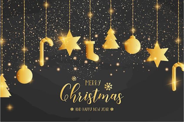 Modelo de cartão de feliz natal com ícones dourados