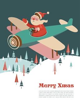 Modelo de cartão de feliz natal com papai noel em um avião. fundo para banner ou pôster