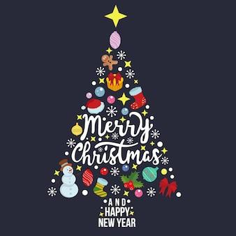 Modelo de cartão de feliz natal em forma de pinheiro