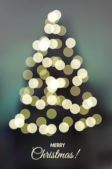 Modelo de cartão de feliz natal luzes brilhantes da árvore de natal