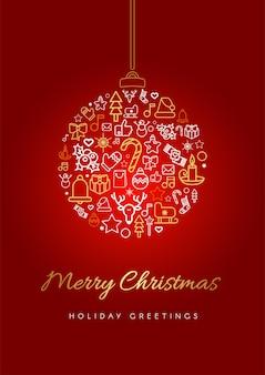 Modelo de cartão de feliz natal. silhueta de bugigangas de natal com letras, ícones festivos lineares