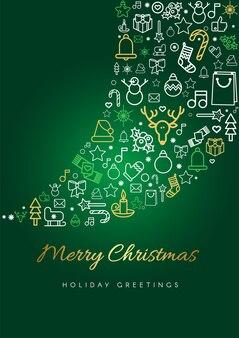 Modelo de cartão de feliz natal. silhueta e letras da nevasca, ícones festivos de natal lineares