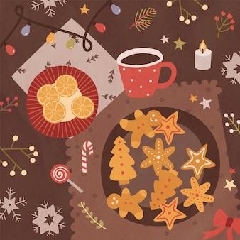 Modelo de cartão de férias com superfície de mesa, deliciosos biscoitos doces caseiros e fatias de laranja sobre os pratos, xícara de chá e decorações de natal. ilustração em vetor festiva colorida em estilo simples.