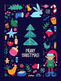 Modelo de cartão de férias de feliz natal feliz ano novo cartaz panfleto quadro ilustração bonita