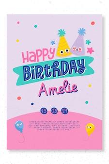 Modelo de cartão de festa de aniversário infantil