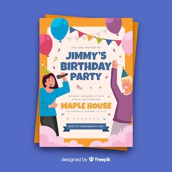 Modelo de cartão de festa de aniversário plana