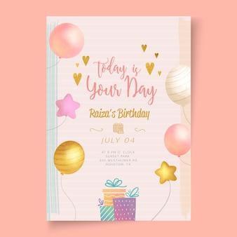 Modelo de cartão de festa de aniversário