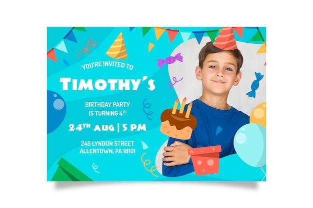 Modelo de cartão de festa infantil com foto