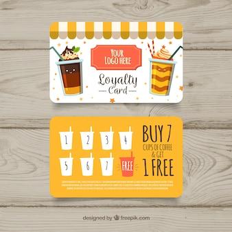 Modelo de cartão de fidelidade adorável com milkshakes