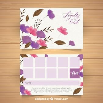 Modelo de cartão de fidelidade aquarela com estilo floral