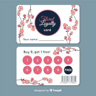 Modelo de cartão de fidelidade colorido com estilo floral