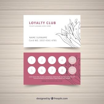 Modelo de cartão de fidelidade com conceito floral
