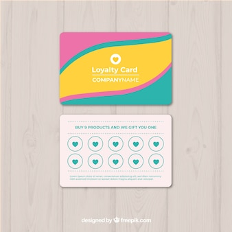 Modelo de cartão de fidelidade com cores
