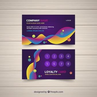 Modelo de cartão de fidelidade com estilo colorido