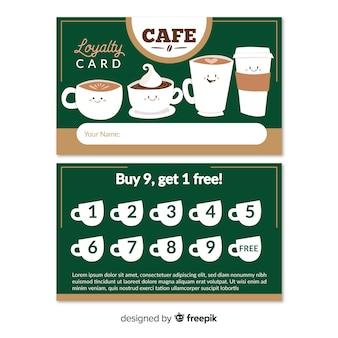 Modelo de cartão de fidelidade de café adorável