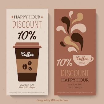 Modelo de cartão de fidelidade de café com design plano