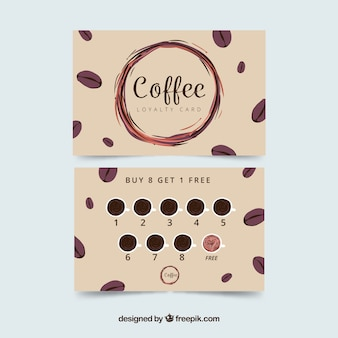 Modelo de cartão de fidelidade de café com elegante chiqueiro