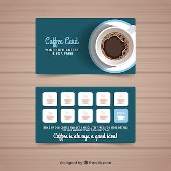 Modelo de cartão de fidelidade de café com estilo elegante