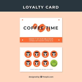 Modelo de cartão de fidelidade de café desenhado de mão