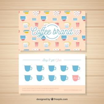 Modelo de cartão de fidelidade de café elegante