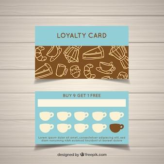 Modelo de cartão de fidelidade de café mão desenhada