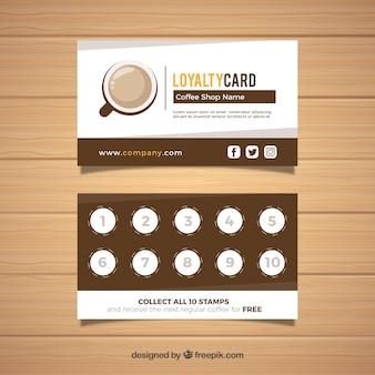 Modelo de cartão de fidelidade de café moderno