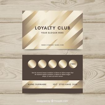 Modelo de cartão de fidelidade de luxo com estilo dourado