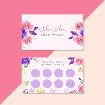 Modelo de cartão de fidelidade de salão com aquarela floral