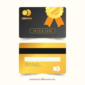 Modelo de cartão de fidelidade dourada com design plano