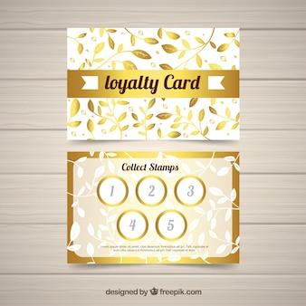 Modelo de cartão de fidelidade elegante com design dourado