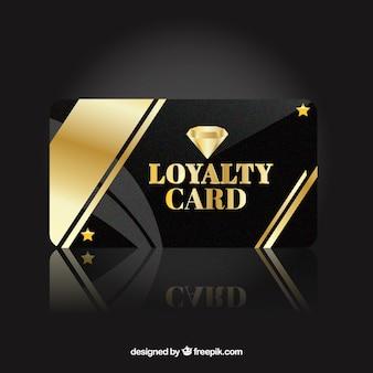 Modelo de cartão de fidelidade elegante com estilo dourado