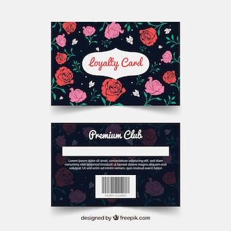 Modelo de cartão de fidelidade elegante com estilo floral