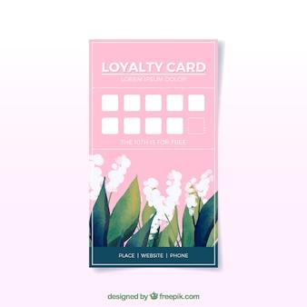 Modelo de cartão de fidelidade floral aquarela