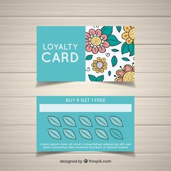 Modelo de cartão de fidelidade floral desenhada de mão