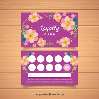 Modelo de cartão de fidelidade linda com estilo floral