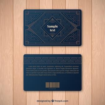 Modelo de cartão de fidelidade luxuoso com estilo dourado